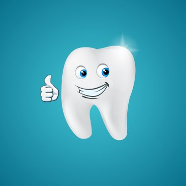 Animated hero happy human tooth