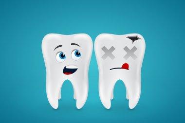 Healthy teeth and dead