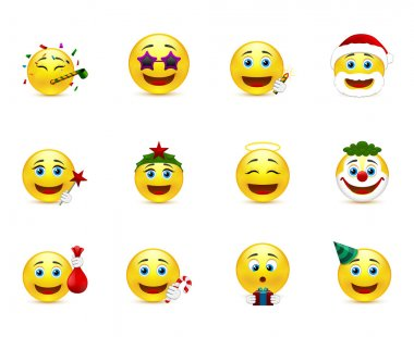 Bright vector emoticons with holiday attributes
