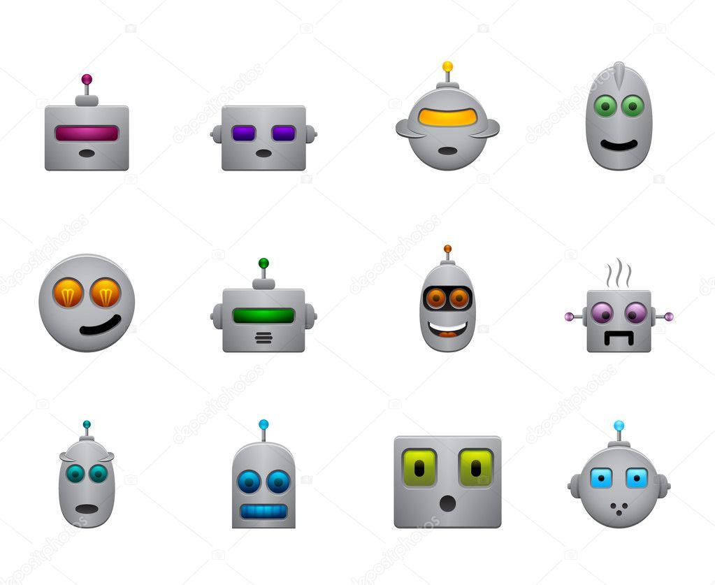 Witzige Retro Roboter Smiles Set Mit Farbe Gesichter Stockvektor