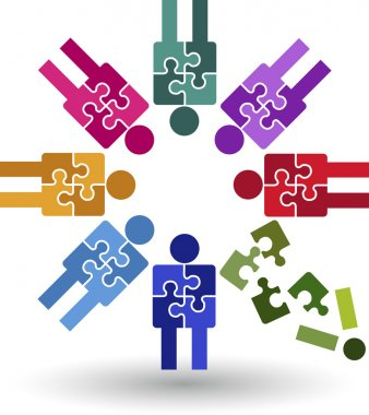 Puzzle team work logo