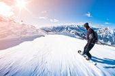 Snowboarder schnell unterwegs, Bewegungsunschärfe, Fischaugenschuss