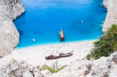 Famous Navagio beach, Zakynthos, Greece, unique point of view