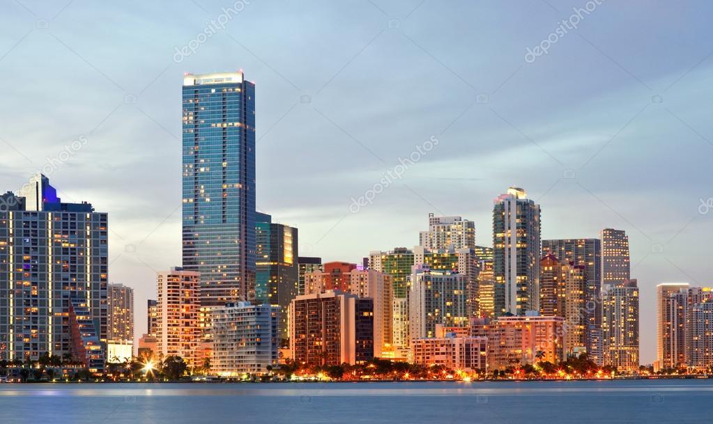 Miami Florida panorama of downtown buildings at sunset