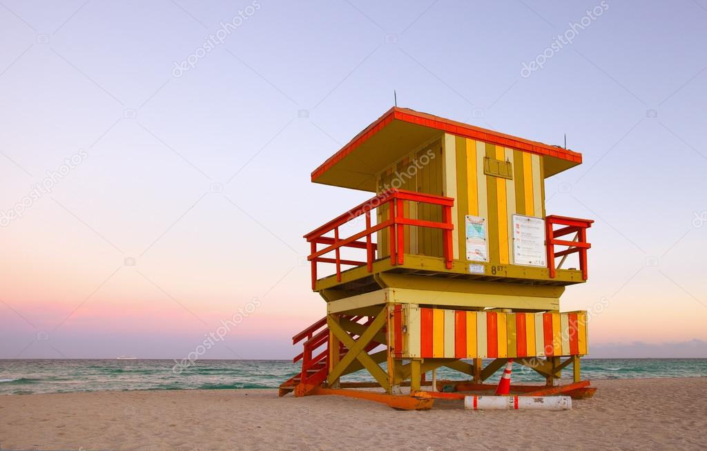 Miami Beach Florida summer scene with lifeguard house