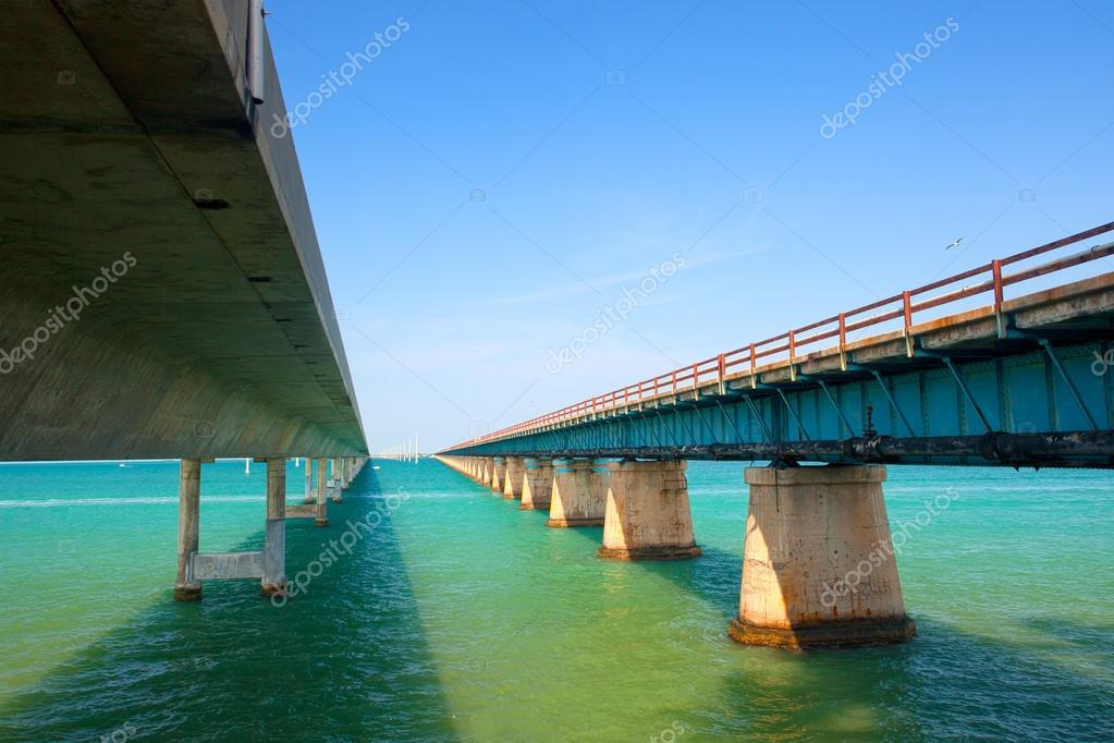 Bridges going to infinity. Seven miles bridge in Florida keys