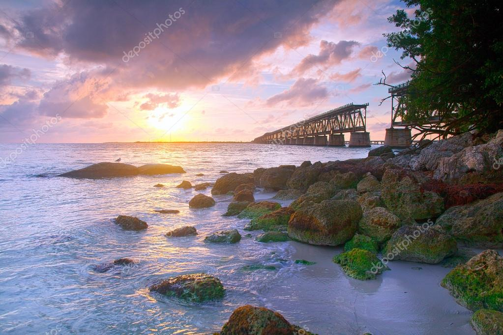 Colorful landscape of a beautiful tropical sunset in Bahia Honda park, Key West Florida