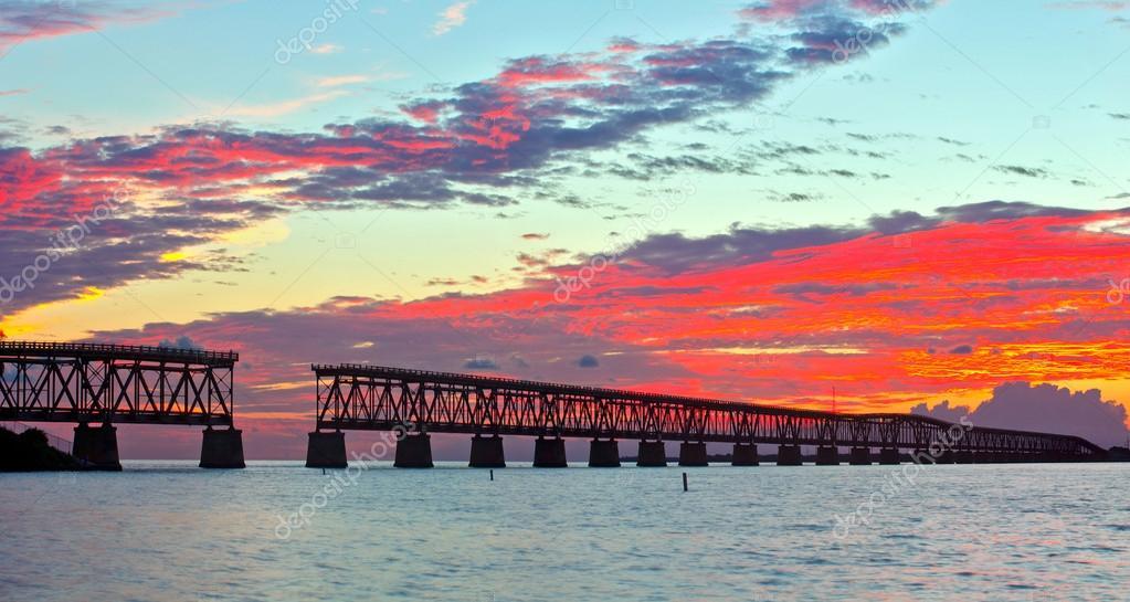 Colorful landscape of a beautiful tropical sunset in Bahia Honda park, Key West Florida