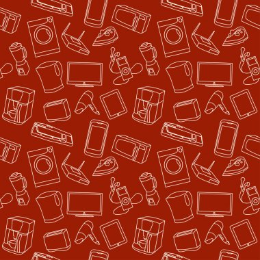 Pattern with images of household appliances