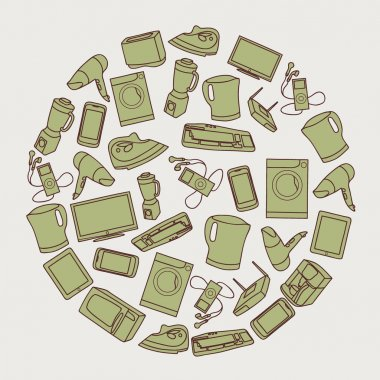 Pattern with images of home appliances