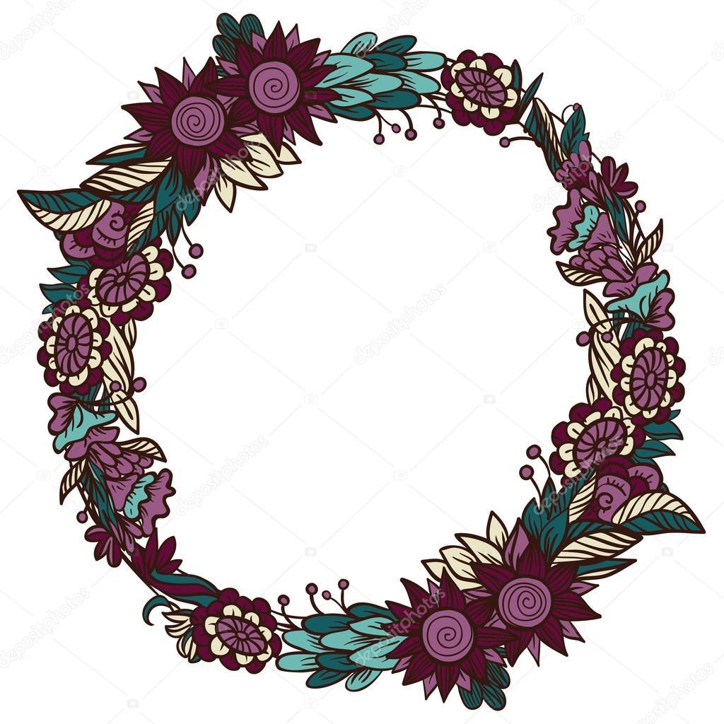 marco floral redondo — Archivo Imágenes Vectoriales ...