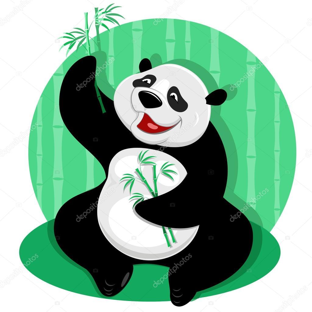 Panda bear with bamboo