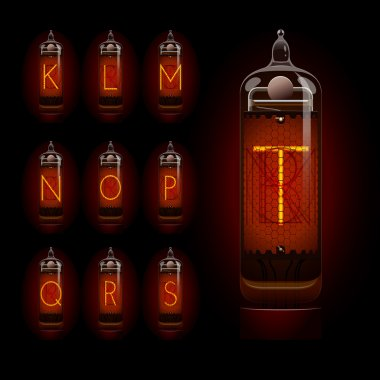Nixie tube alphabet k to t