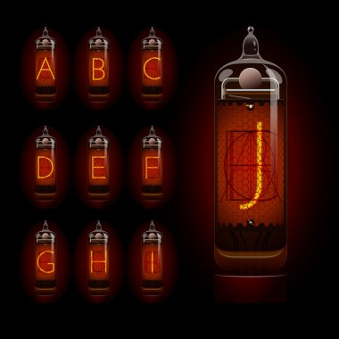 Nixie tube alphabet a to j