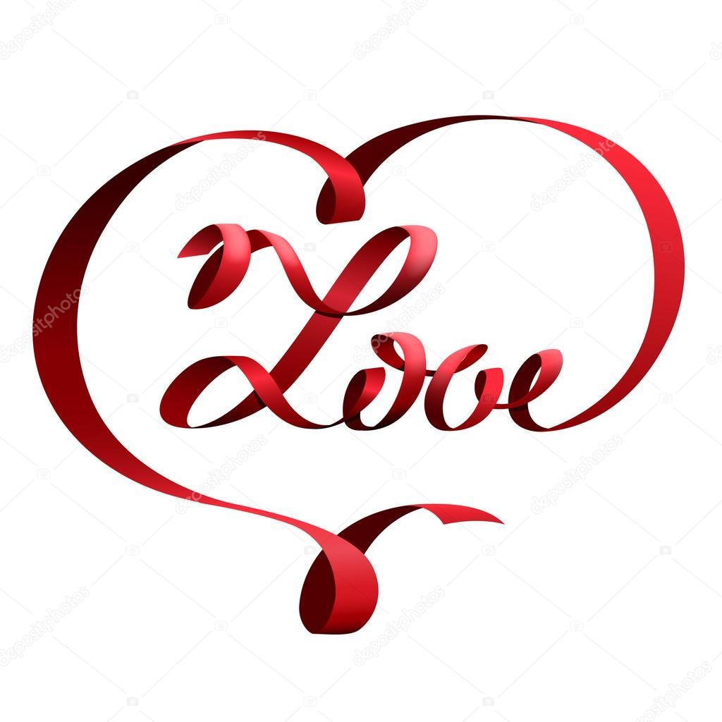 Corazon En Forma De Letras Cinta Roja En Forma De Corazón Y Amor