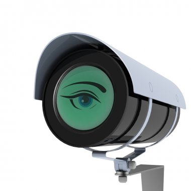 Security camera and eye on white background. Isolated 3D image