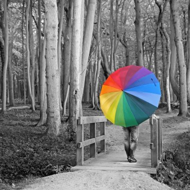 Surreal background - woman with colorful umbrella in the woods stock vector