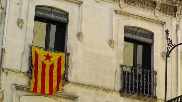 Facade with Catalan flag Spain Catalonia