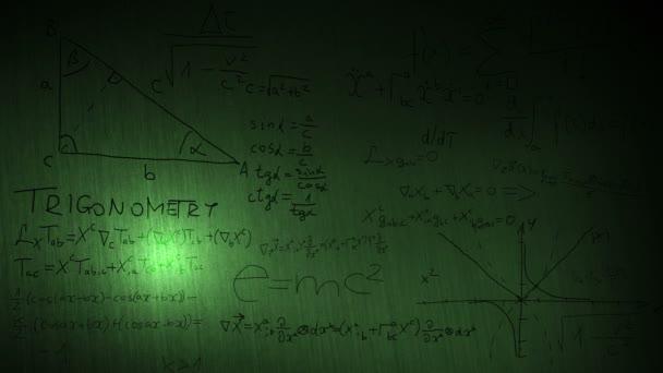 a matematikai képletek egy táblára közelről