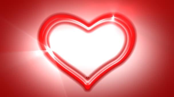 retro stílusú neon szív, hurkolás animáció.