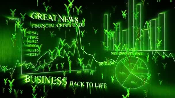 Optimistic business animation with yen symbols