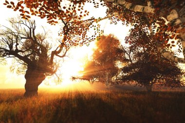 Beautiful Autumn Nature Scene 3D render