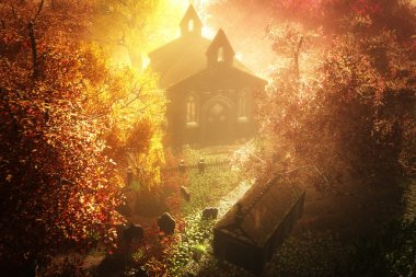 Autumn in Cemetery 3D render 7