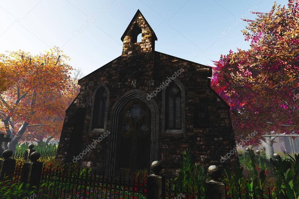 Autumn in Cemetery 3D render 3