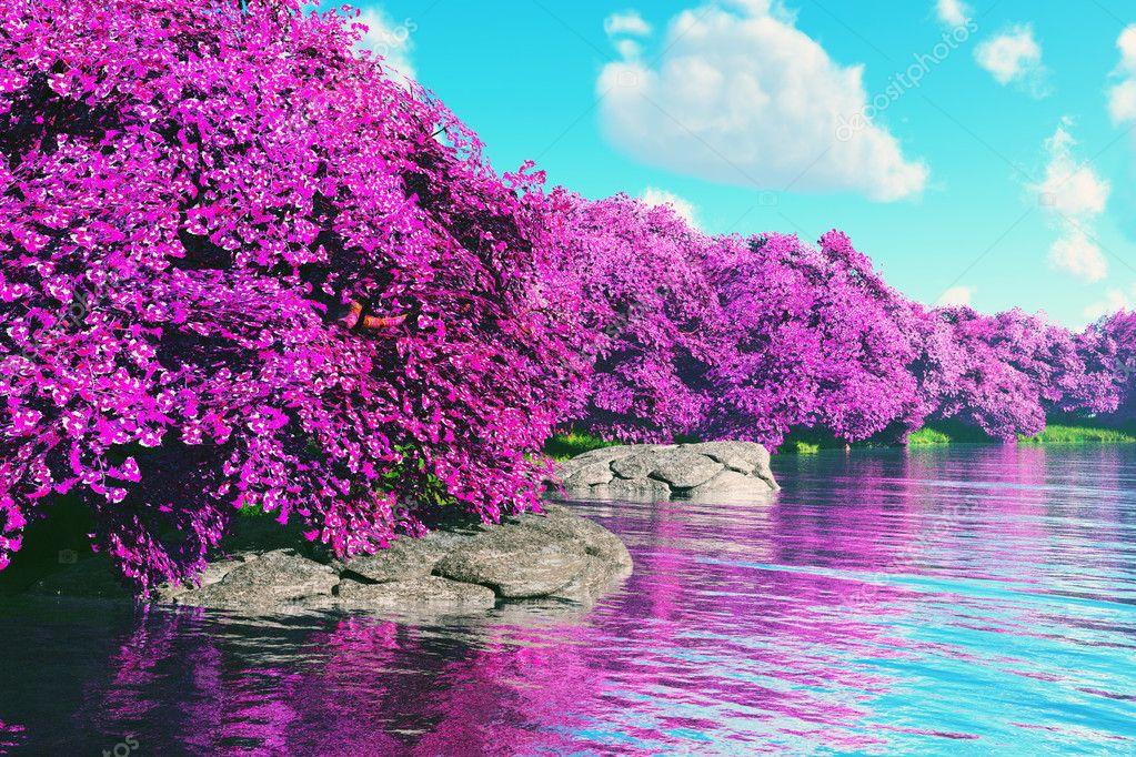 Jardin Japonais Mysterieux Cerisiers En Fleurs Au Lac Rendu 3d