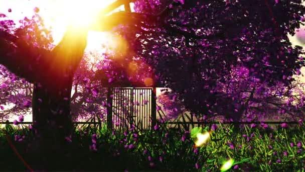 tajemný Třešňové květy japonské zahradní cartoony 3d vykreslení