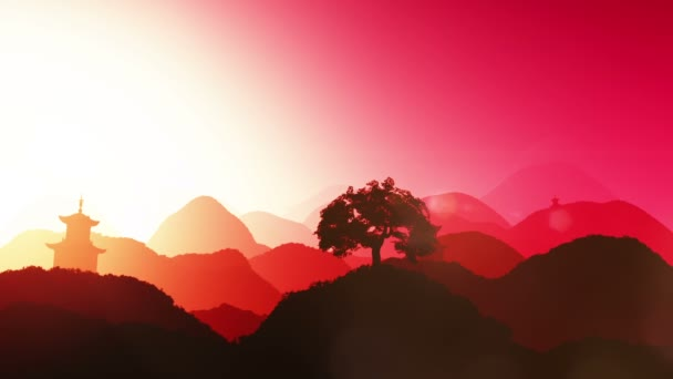 Magical sunset over mountains leaves on hillside plants and trees