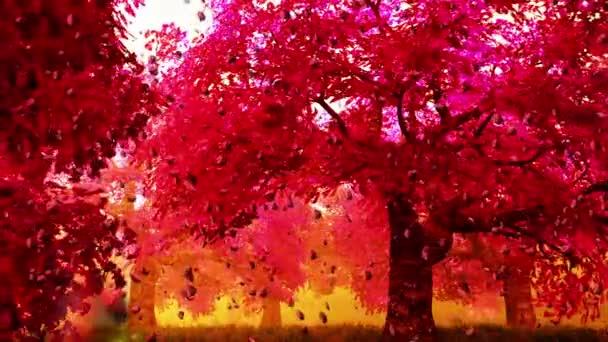 Magic cherry blossoms japanese garden cartoony 3D render