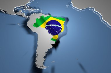 Brasil Country Map on Continent