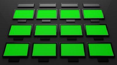 Studio Interior Green Sceen Displays