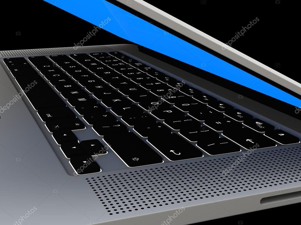 laptop met verlicht toetsenbord — Stockfoto © tom.griger #40437203