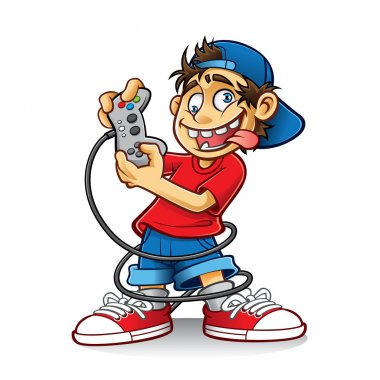 Cartoon young people are playing games with the crazy eyes and sticking out his tongue stock vector