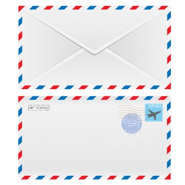 Air mail envelope with postal stamp isolated on white background. stock vector