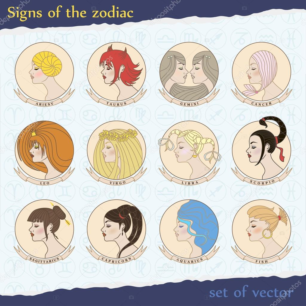 Vector set of zodiac signs