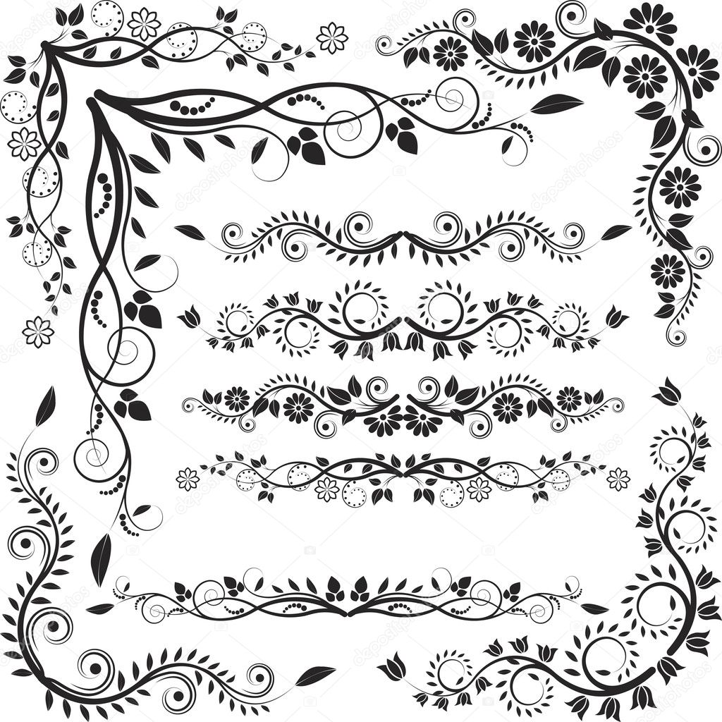 Decorative Black Flower Border Stock Image: Stock Vector © Mtmmarek #13628862