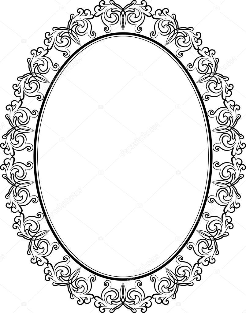 Stock Illustration Oval Frame on Romantic Frame Transparent