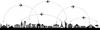 Black and white vector background with a trip with icons stock vector