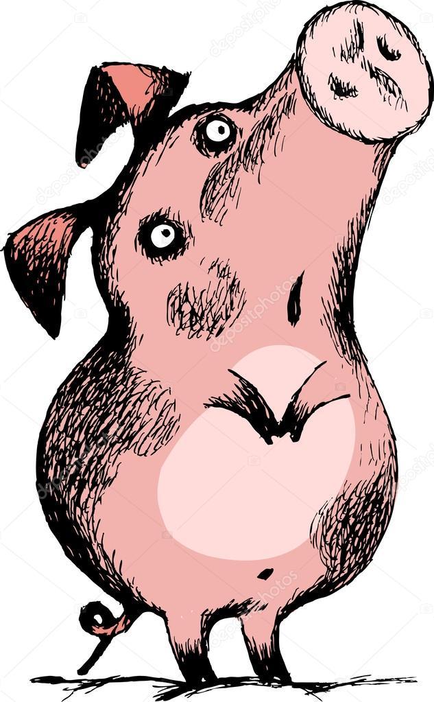 Очень прикольные рисунки свиней, открытки