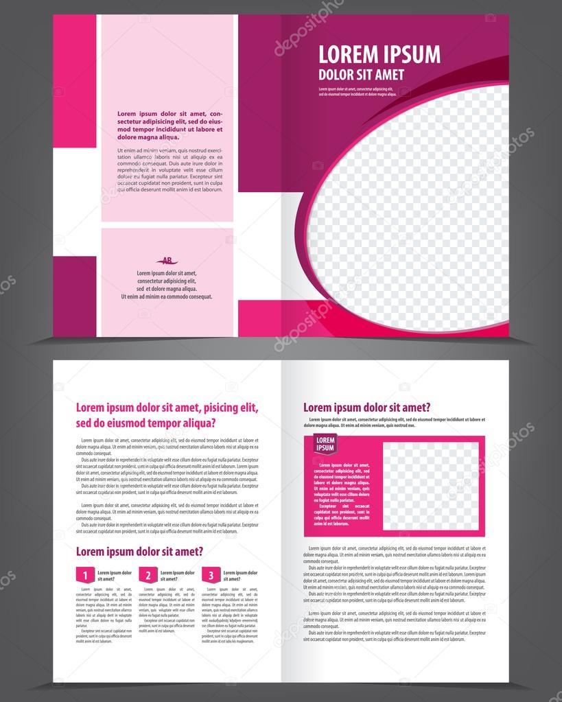 Vektor leer Bifold Broschüre Druckvorlage Design mit Violett ...