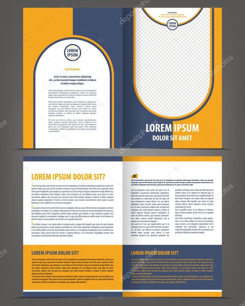 Vektor leer Broschüre Druckvorlage Design mit orange und dunkles ...