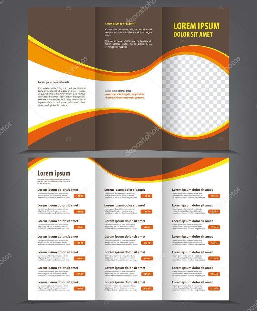 Trifold Business Broschüre Druckvorlage braun design — Stockvektor ...