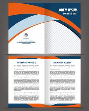 Empty bi-fold brochure template design