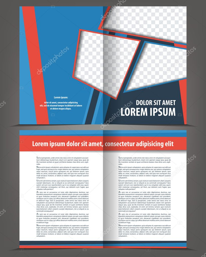 Vektor leer Bi-Fold-Broschüre Druckvorlage Design mit blauen und ...