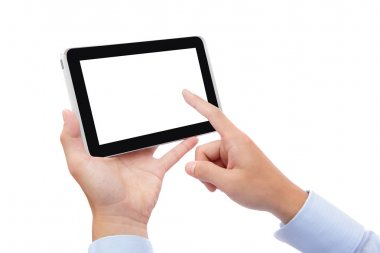 business man finger touch tablet pc