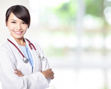 Young doctor woman smile face