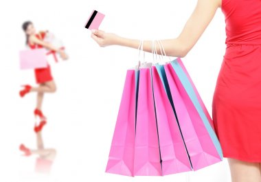 woman happy take credit card and shopping bag